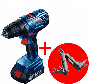 Дрель аккумуляторная Bosch GSB 180-LI Professional + Swiss Peak Multitool