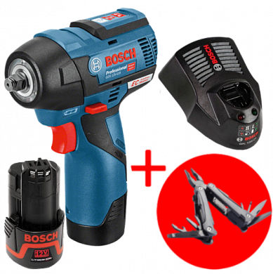 Гайковерт BOSCH GDS 12V-115 + 2 аккумулятора GBA 12V 2.5Ah + Swiss Peak Multitool